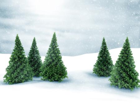 Winter scene met sneeuw en groene pijnbomen Stockfoto