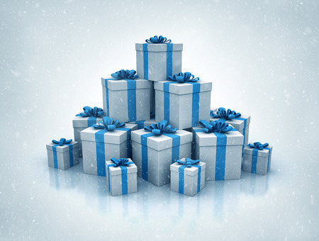 christmas present box: Stack of blue gift boxes 3d render