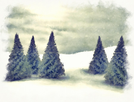 christmas greeting: Winter scene of pine trees and snow Stock Photo