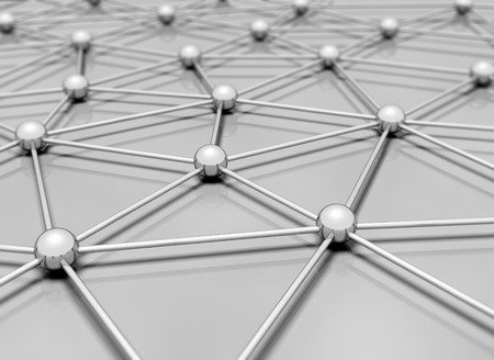 sphere standing: Network 3d illustration single blue sphere standing out Stock Photo