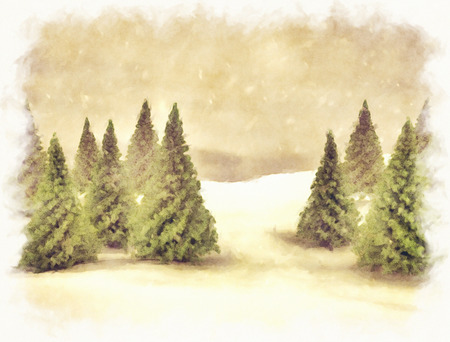 Christmas card background pine trees in the snow photo