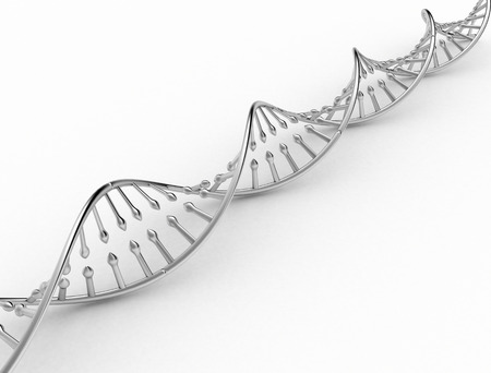 DNA double helix metal texture on white background photo