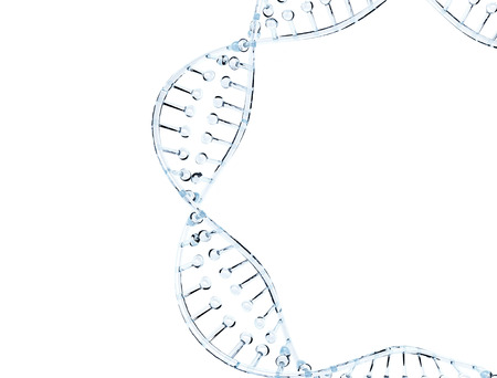 Glass DNA model isolated on white background photo
