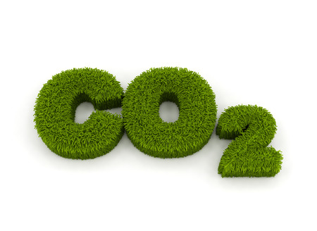 carbon monoxide: Co2  grass 3d letters isolated on white