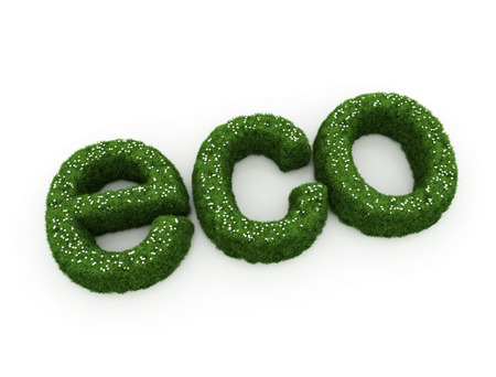 environmentally friendly: ECO green grass nature 3d text on white background