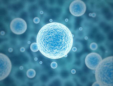 molecula: c�lulas en azul - 3d ilustraci�n