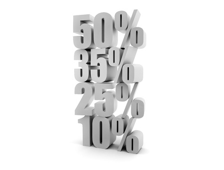 Sales background. Different sales percentage stacked 3d render photo