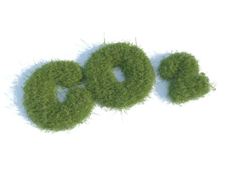 co2 neutral: Co2 design text with 3d grass