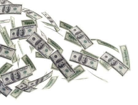 dinero volando: Billetes de dólar dinero aislados en blanco