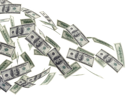 flying money: Money dollar bills isolated on white