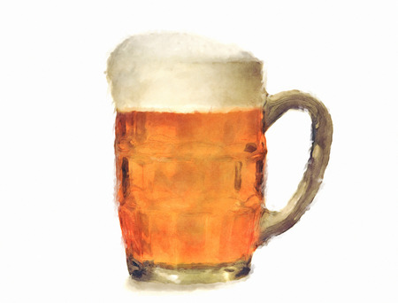 un bottled: Mug with beer Stock Photo