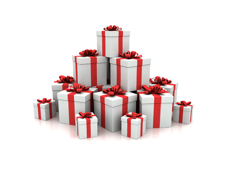 christmasy: Stack of blue gift boxes 3d render