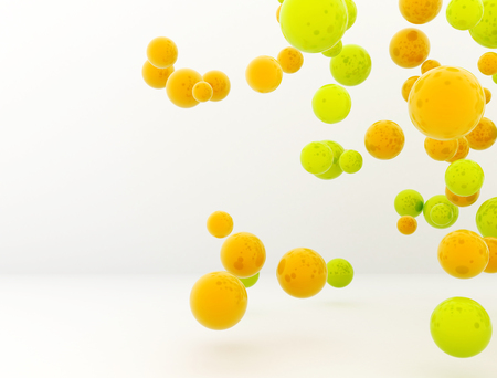 depth: Abstract 3d spheres glass bubbles orange and green