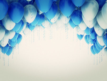 blue party: Blue and white party balloons Stock Photo
