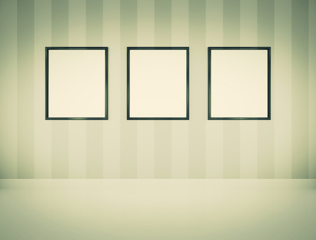 frame wall: Three empty picture frames Stock Photo
