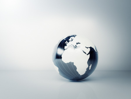 wereldbol: Blauwe glazen wereldbol