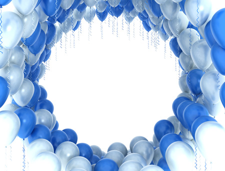 blue party: Blue and white party balloons isolated on white background