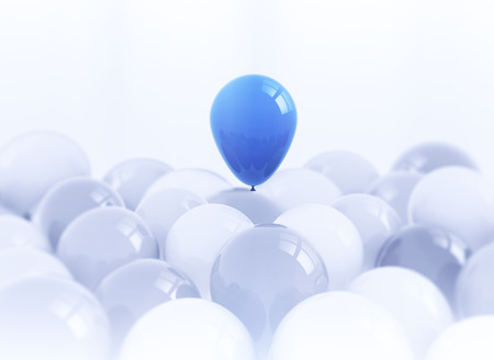 balloon background: One blue balloon risingfrom a bunch  of white balloons Stock Photo