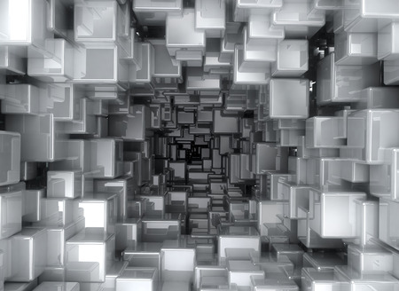 abstract cubes: Metallic abstract cubes background Stock Photo