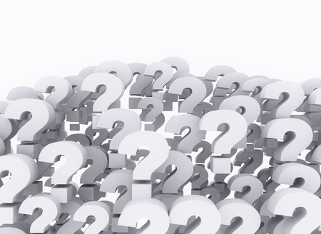 unsure: Question marks 3d background isolated on white