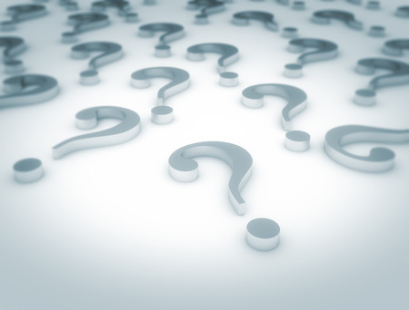 think tank: Metal question marks background Stock Photo