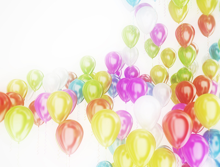multi: Multi color party balloons isolated on white background