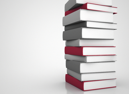 person reading: Tall stack of books 3d illustration Stock Photo