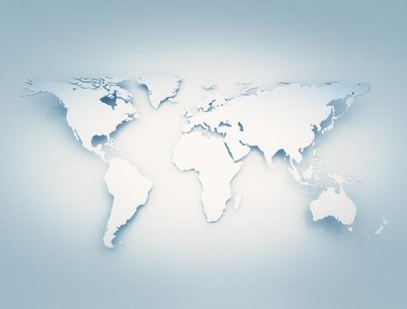 Wereldkaart 3D. Bend met schaduwen