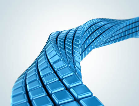twist: Abstract twisted metal cubes - Digital dna Stock Photo