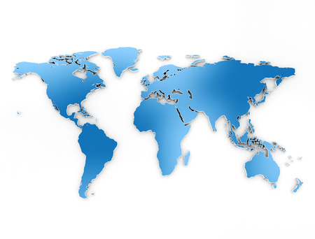 World map blue 3d on white background