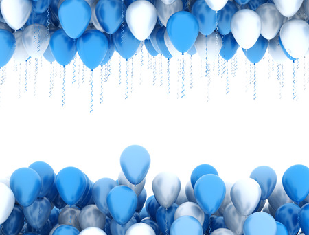 Blue party balloons isolated on white background Foto de archivo