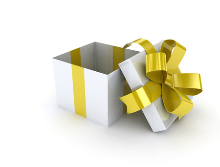 open gift box: Gold ribbon open gift box on white background Stock Photo