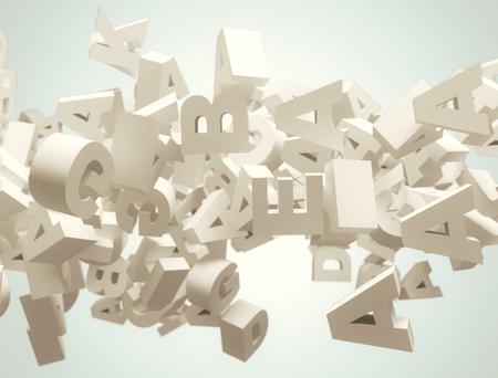 ランダムな文字が飛ぶ。高解像度 3 d のレンダリング