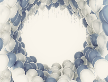 blue party: Blue and white party celebration balloons. Retro image Stock Photo