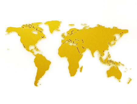 Gold world map 3d isolated on white background Stock Photo