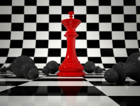 challange: Chess concept with red king in front