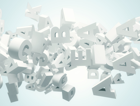 numerical code: Many alphabet letters 3D display or background