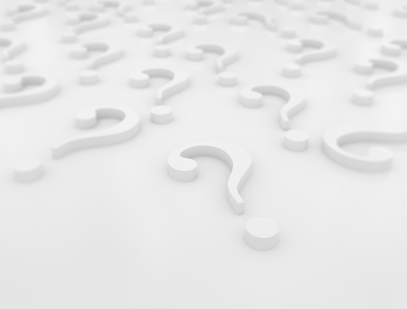 inquiring: Large group of 3d blue Question marks