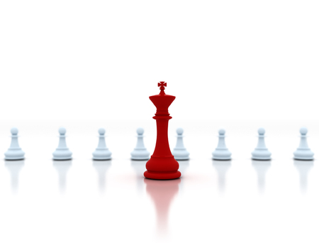 Leadership concept, chess king in front Stock Photo