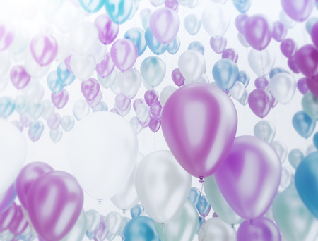 blue and green: Group of multi color party balloons on white background Stock Photo