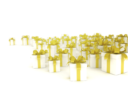 white boxes: Group of golden ribbon gift boxes on white background