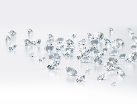 Diamonds on white background