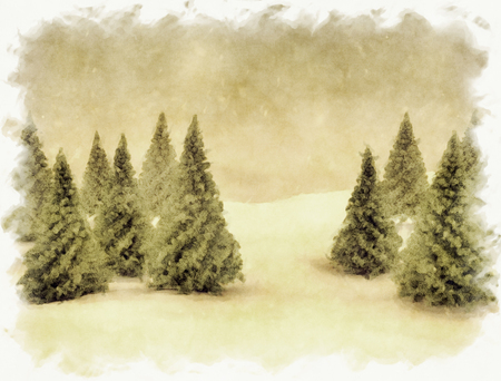 tree  forest: Winter scene snow blue sky and green pine trees