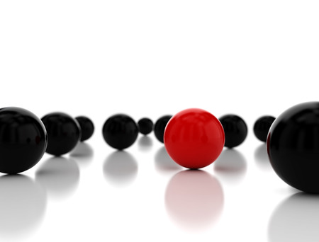 standing out: Single red ball standing out. 3d render
