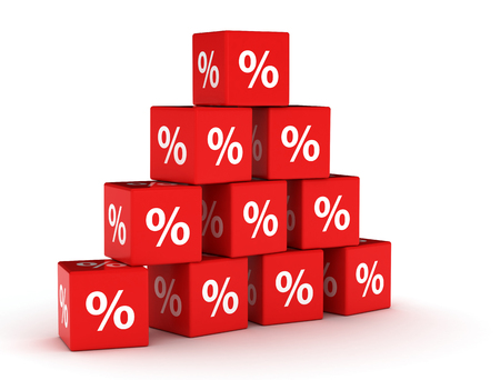 percentages: pyramid of percentage signs on red cubes