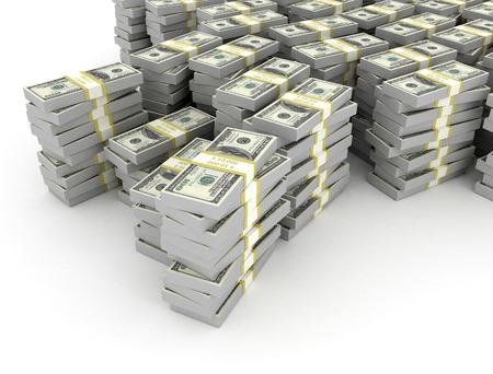 hundred dollar bill: Stacks of dollars on white background
