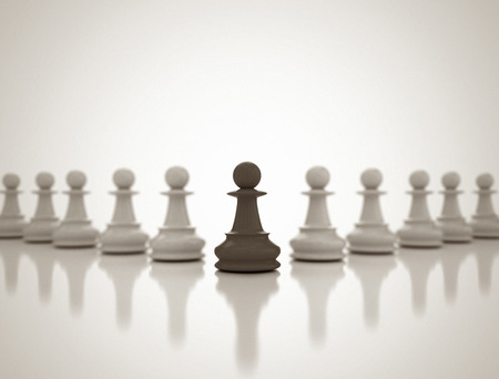conflict: Leadership Conceptual Background with chess pawns