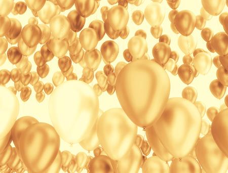 慶典: 大集團黃金氣球。慶典背景