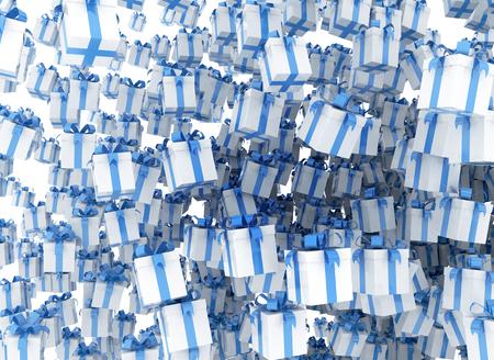 raining: Caja de regalo azul ilustración