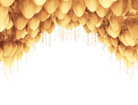 air baloon: Golden balloons isolated on white background Stock Photo